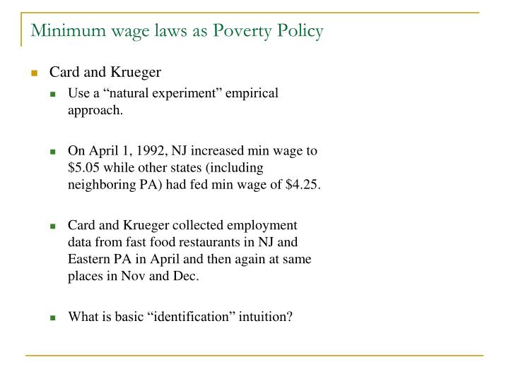 Minimum wage laws as Poverty Policy
