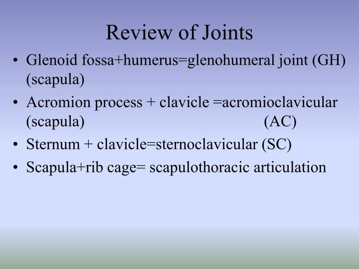 Review of Joints