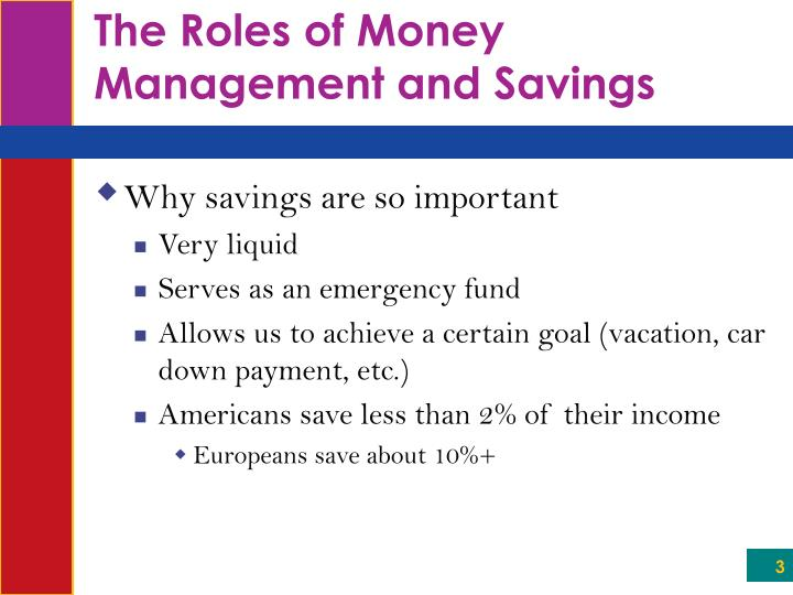 The roles of money management and savings1