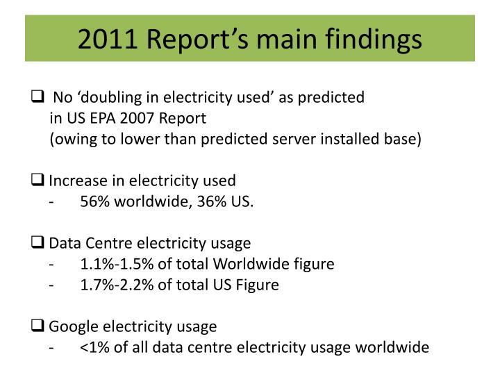 2011 Report's main findings