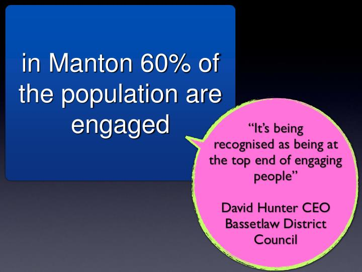 in Manton 60% of the population are engaged