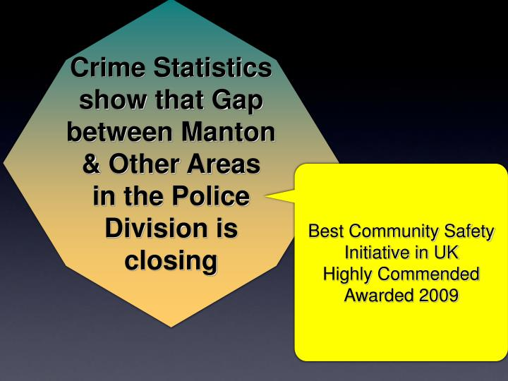 Crime Statistics show that Gap between Manton & Other Areas in the Police Division is closing