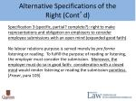 alternative specifications of the right cont d2