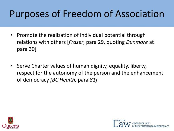 Purposes of Freedom of Association