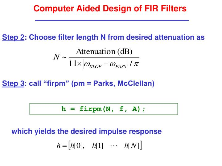 Computer Aided Design of FIR Filters