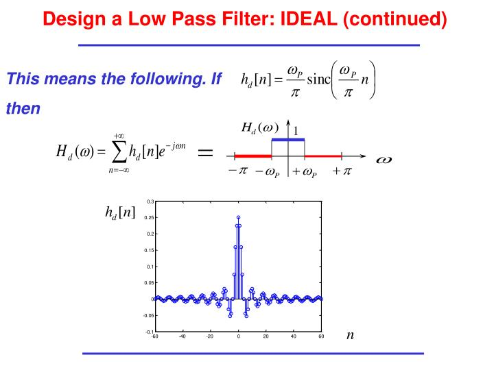 Design a Low Pass Filter: IDEAL (continued)