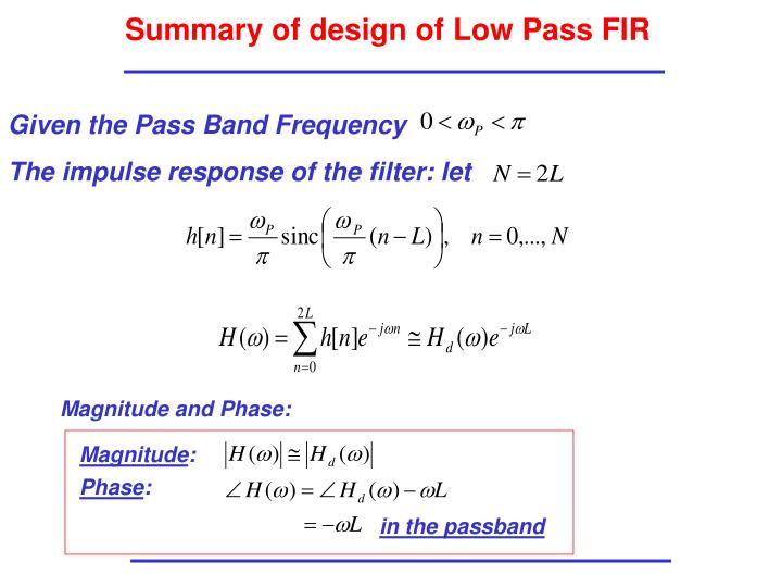 Summary of design of Low Pass FIR