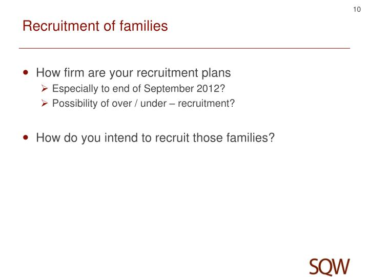 Recruitment of families
