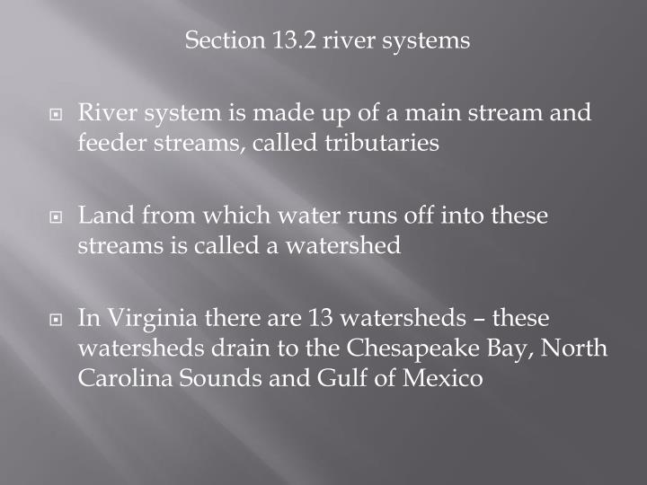 Section 13.2 river systems