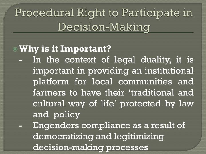 Procedural right to participate in decision making