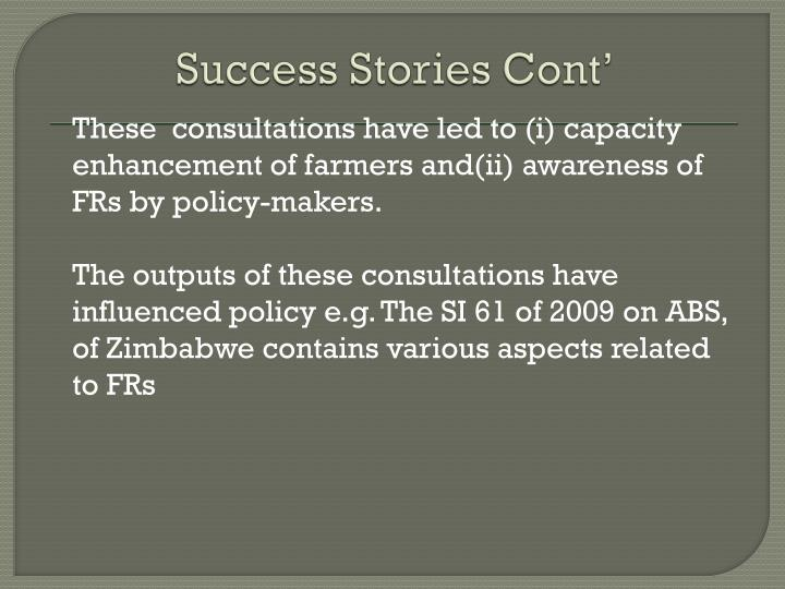 Success Stories Cont'