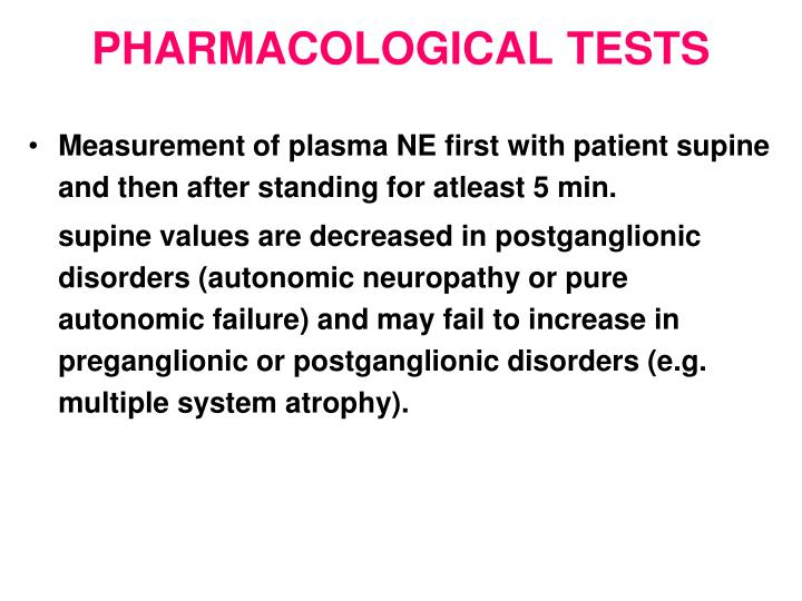 PHARMACOLOGICAL TESTS