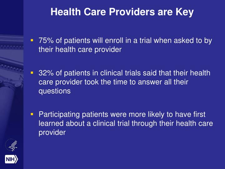Health Care Providers are Key