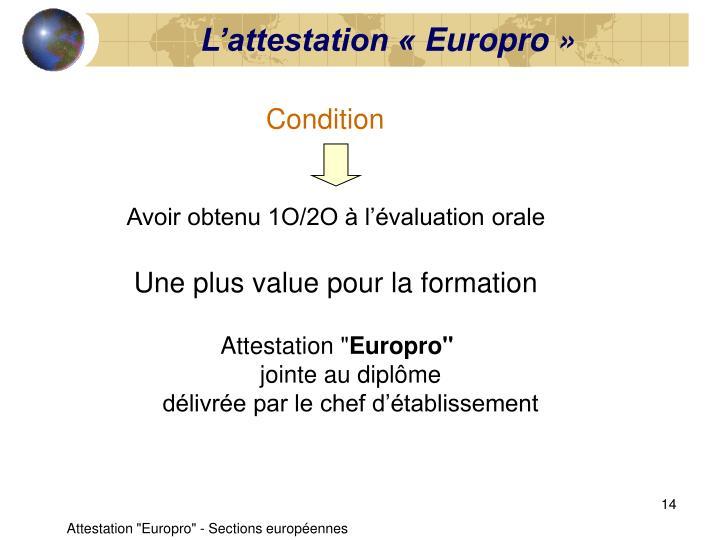 L'attestation «Europro»