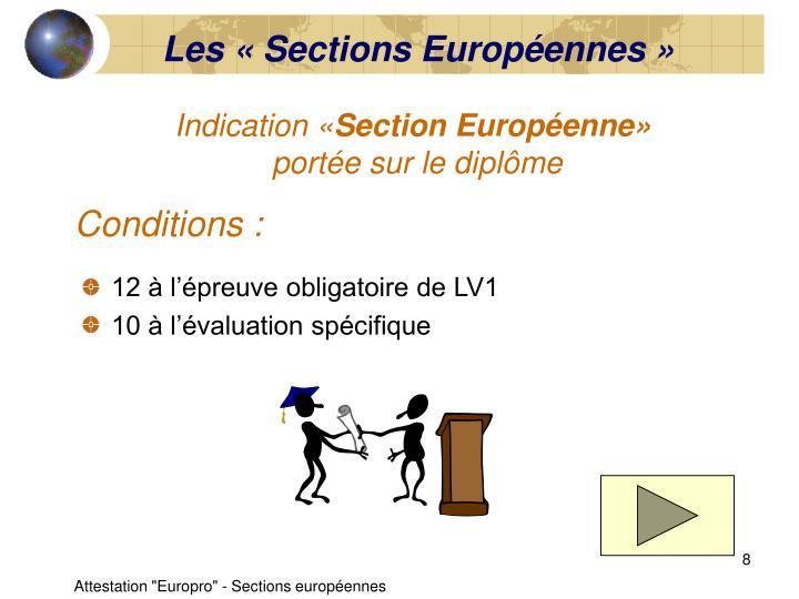 Les «Sections Européennes»