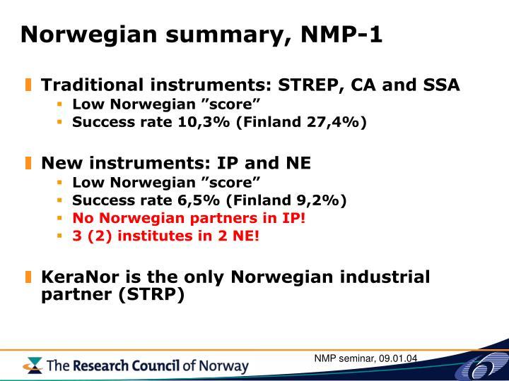 Norwegian summary, NMP-1
