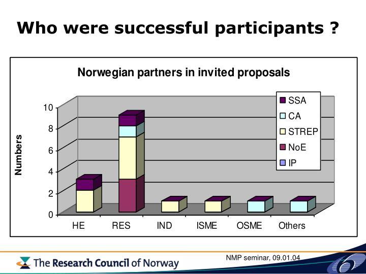 Who were successful participants ?