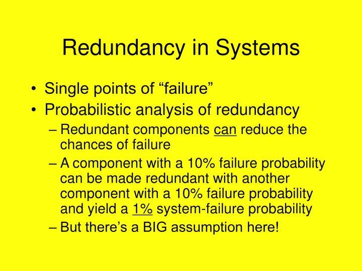 Redundancy in Systems