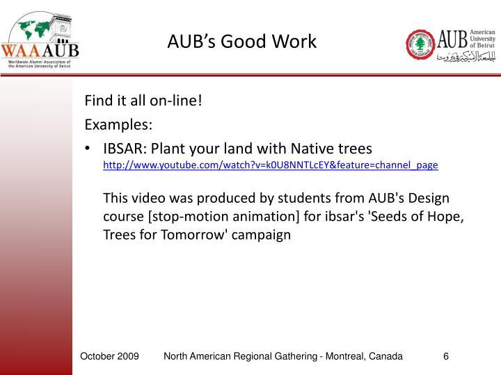 AUB's Good Work