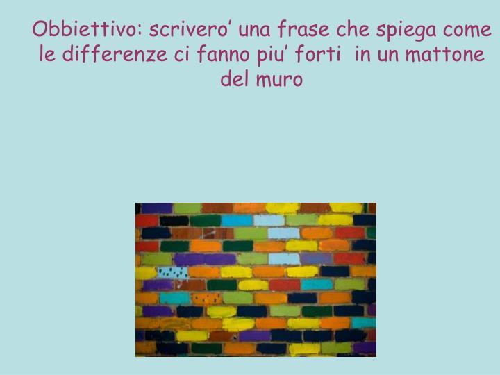 Obbiettivo: scrivero' una frase che spiega come le differenze ci fanno piu' forti  in un mattone del muro