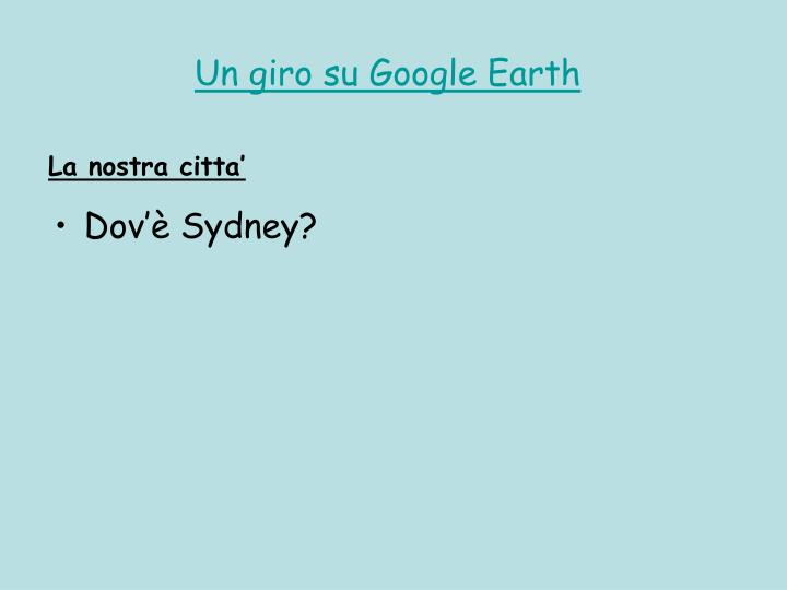 Un giro su Google Earth
