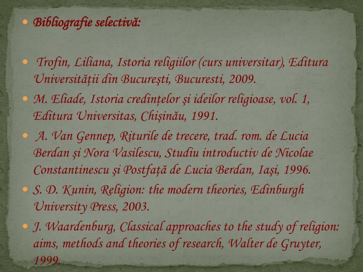 Bibliografie selectiv: