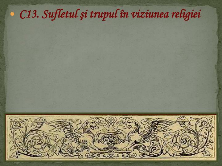 C13. Sufletul şi trupul în viziunea religiei