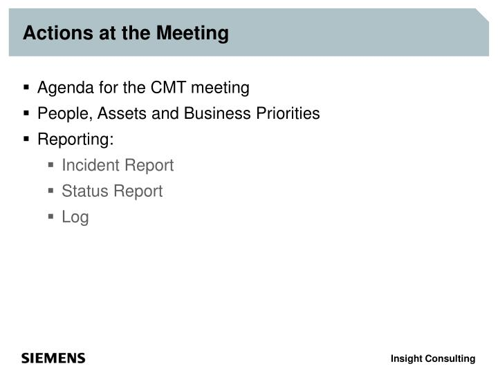 Actions at the Meeting