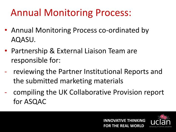 Annual Monitoring Process: