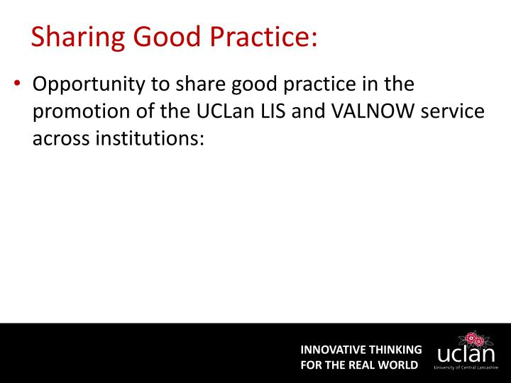 Sharing Good Practice:
