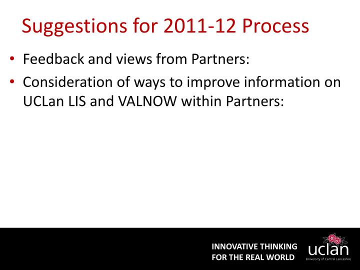 Suggestions for 2011-12 Process