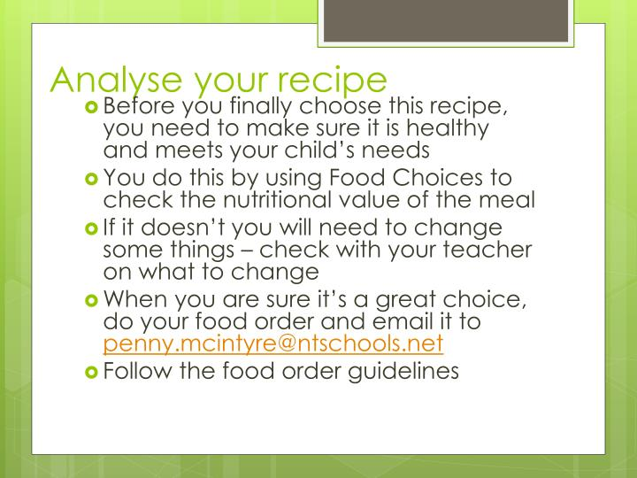 Analyse your recipe