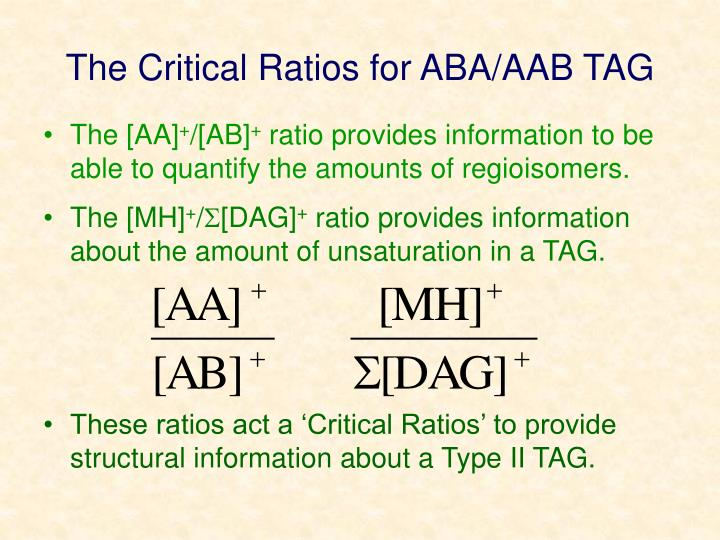 The Critical Ratios for ABA/AAB TAG