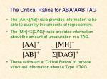 the critical ratios for aba aab tag