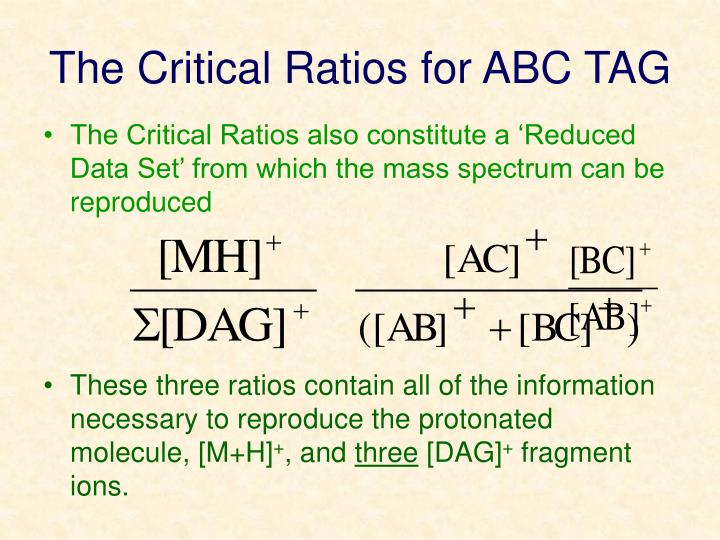 The Critical Ratios for ABC TAG