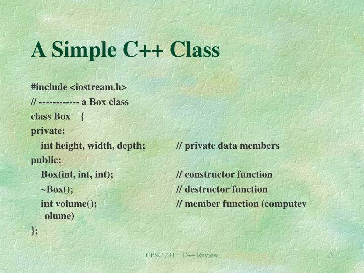 A Simple C++ Class
