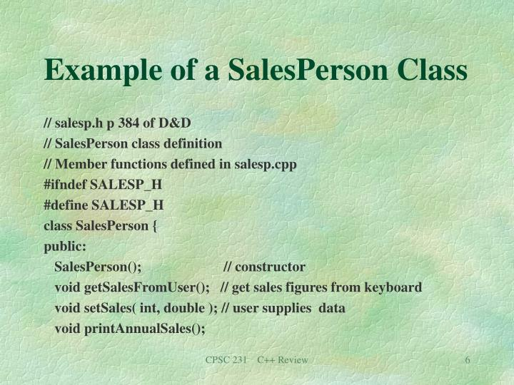 Example of a SalesPerson Class
