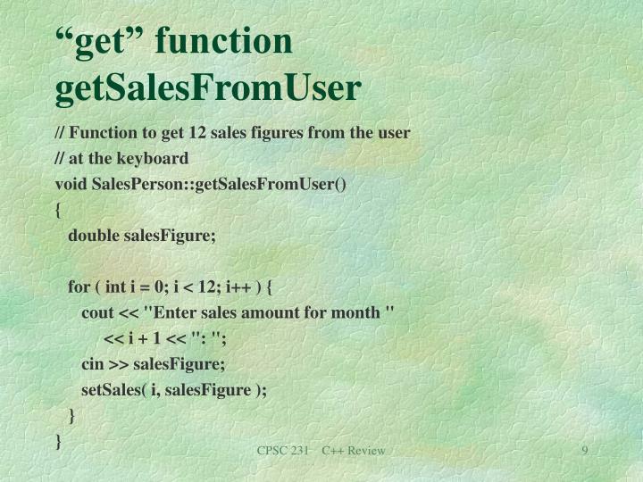 """get"" function getSalesFromUser"