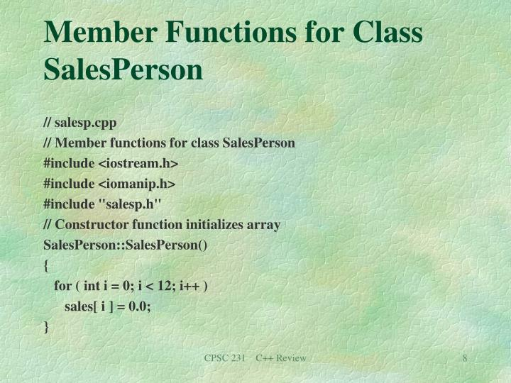 Member Functions for Class SalesPerson