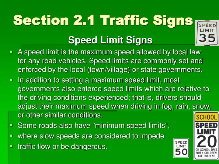 Section 2.1 Traffic Signs