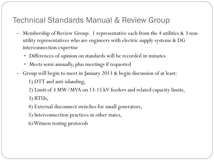Technical Standards Manual & Review Group