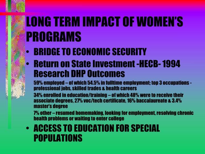 LONG TERM IMPACT OF WOMEN'S PROGRAMS