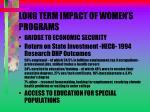 long term impact of women s programs