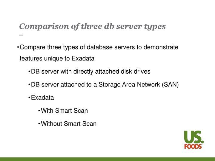Comparison of three db server types