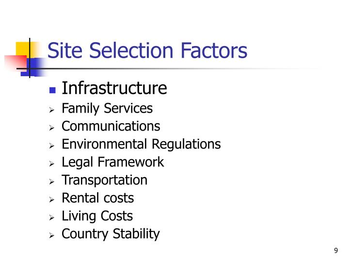 Site Selection Factors