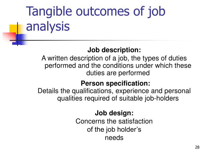 Tangible outcomes of job analysis
