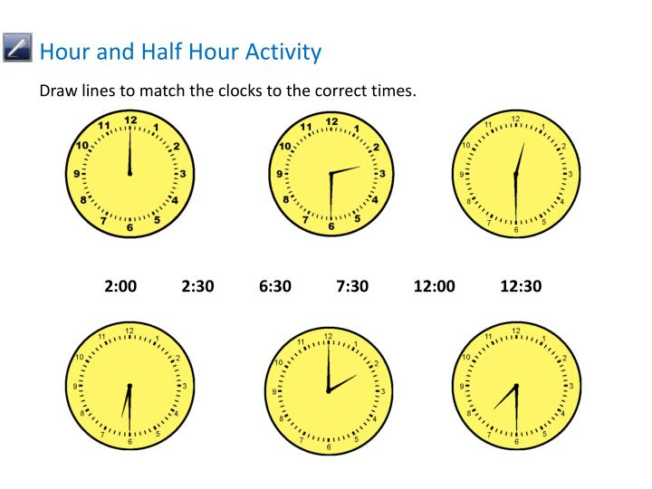 Hour and Half Hour Activity