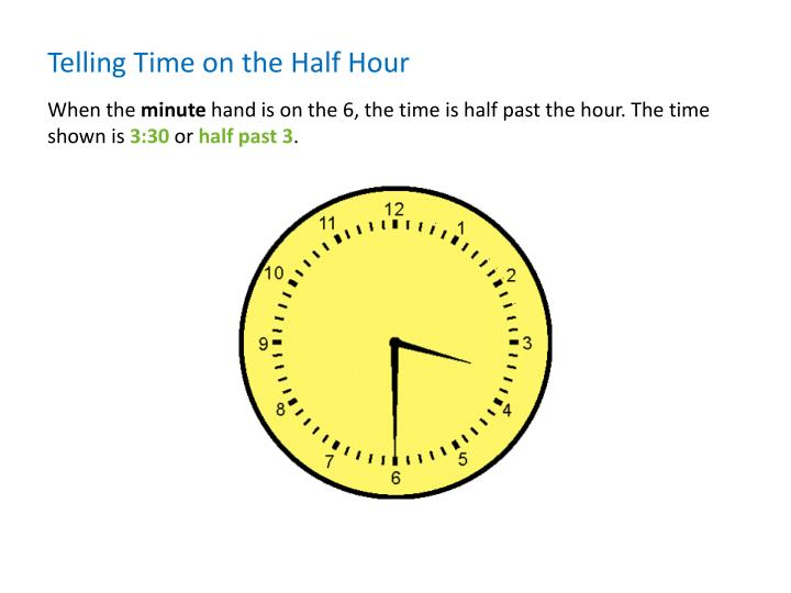 Telling Time on the Half Hour