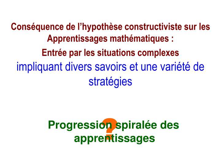 Conséquence de l'hypothèse constructiviste sur les  Apprentissages mathématiques :