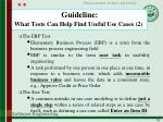 guideline what tests can help find useful use cases 2